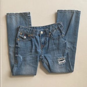 True Religion Straight Leg Distressed Blue Jeans
